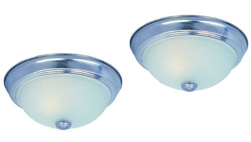 Park Madison Lighting PMC-9081-16 Twin Pack Flush Mount Ceiling Dome Fixtures with Frosted Swirl Glass in Satin Nickel Finish, 11-Inch (Satin 9081)