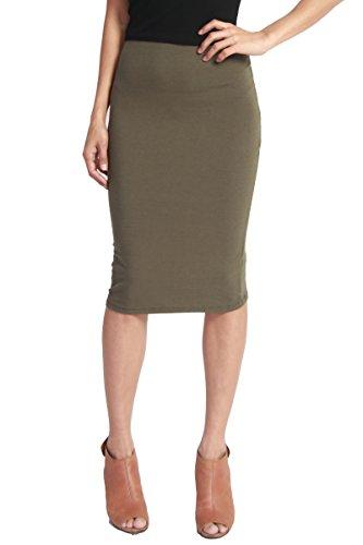 [TheMogan Women's Washed Cotton Blend High Waist Midi Pencil Skirt Olive M] (Blend Pencil Skirt)