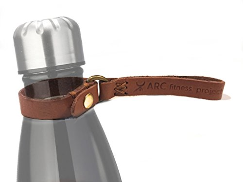ARC Fitness Project Handmade Leather Strap for Slim Cola Shaped Bottles – Fits 25, 17, 15 & 9 oz. Will not slip off even with cap off! – (BLACK CARABINER INCLUDED)