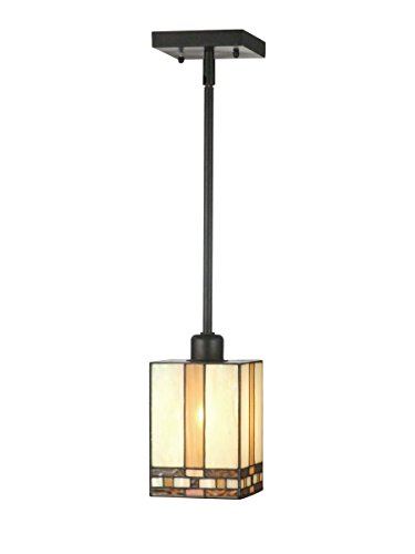 Springdale STH11006 Chatfield Mission Tiffany Mini Pendant, Antique Bronze