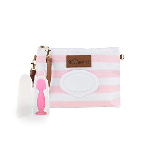 Diaper Clutch Bag and Mini Rash Cream Applicator with Travel Case, Soft Flexible Silicone - Water Resistant; Lightweight; Refillable Wipes Dispenser; Portable Changing Kit (Pretty Pink + - Mommy Clutch