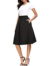 Women's A-Line Flowing Midi Skirt High Waist Pleated Twill Skirt with Pockets