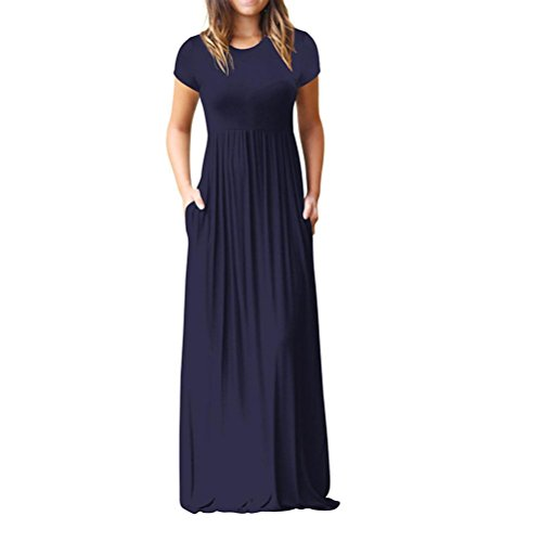 Loose Party Dress for Women O Neck Casual Short Sleeve Floor Length Dress with Pocket Navy