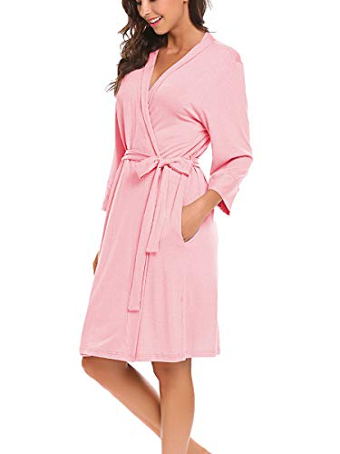 (BLUETIME Women Robe Soft Kimono Robes Cotton Bathrobe Sleepwear Loungewear Short (M, Pink))