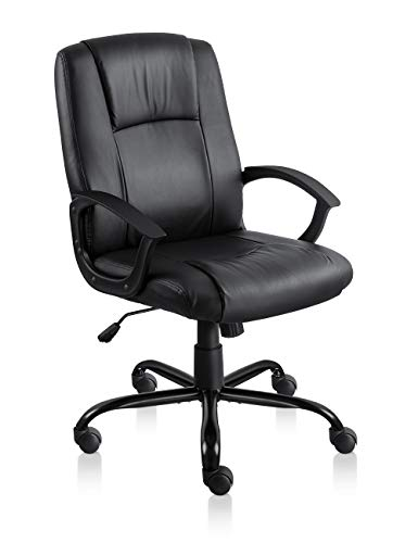 Desk Chair Thick Padding Mid-Back Task Chair with Tilt and Lock Mechanism (Black) ()
