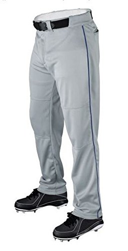 Wilson Youth Classic Relaxed Fit Piped Baseball Pant, Grey/Royal, Large