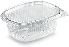 Juego de 100 recipientes ovalados de OPS, cc 500, transparentes, desechables con tapa hermética. Ideal para guardar en el frigorífico fruta, pasta y ensalada, se pueden utilizar como tuppers: Amazon.es: Oficina y