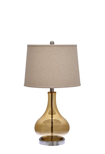 Catalina Lighting 18575-000 Table Lamp with an Ivory Linen Shade and Brushed Nickel Metal Base, 25