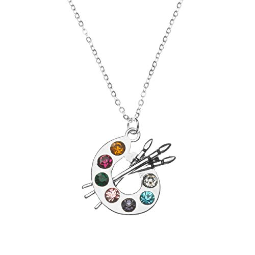 Sportybella Artist Paint Palette and Brush Charm Pendant Necklace, Painters Jewelry Gift for Women, Teens & Girls