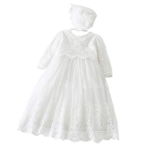Baby Girls Long Sleeve Christening Dress Classic Embroidered Baptism Tulle Dress with Bonnet Ivory Size 3M