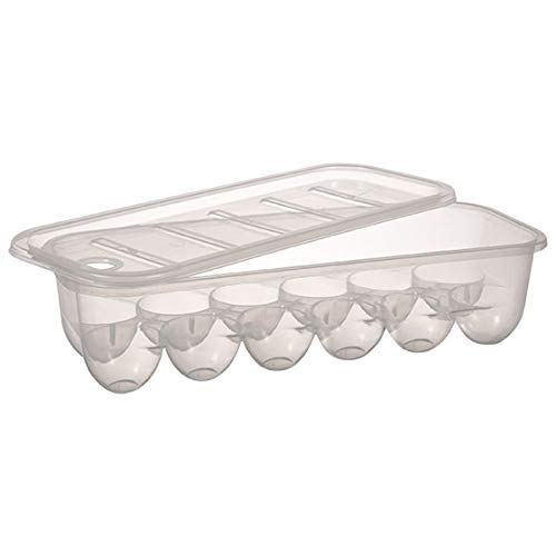 Egg Storage Container, Holds 1 dozen | Stackable 12 Eggs Heavy Duty Storage with Removable Lid | Clear Rectangle Egg Storage for 1 Dozen (12 ct Eggs) ()