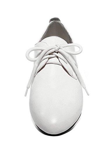 Tonda Allacciare Luccichio Ballerine Basso Colore VogueZone009 Donna Bianco Assortito Tacco Punta wBZqfH1FA