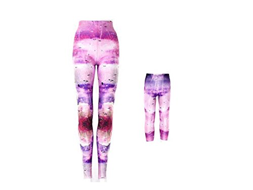 Mommy and Me Leggings Pants - Galaxy Print - High Waist Retro Vintage Leggings - Women and Girls Yoga and Workout Leggings - Mother and Daughter Matching Outfits - Made In The USA (Small/Medium)