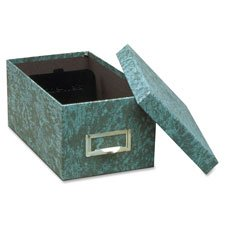 4in Capacity Green - Card File Box, w/Lid, 1000 Card Capacity, 4