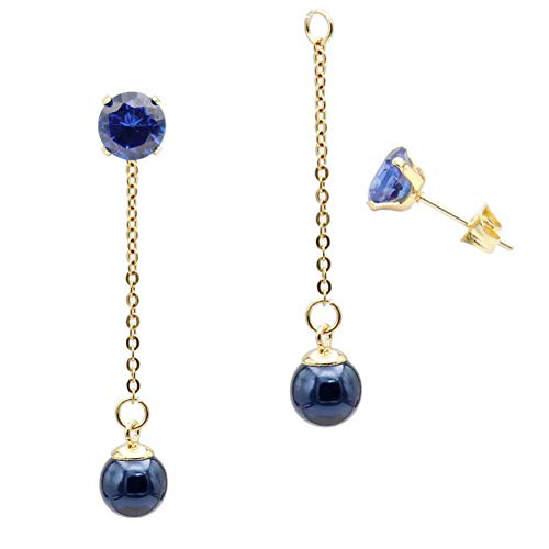 Dangle Jacket - Fashion Blue Pearl Ball Drop Dangle Earrings with Chain for Women Girl Hypoallergenic Cubic Zirconia Stud Earring Jacket Enhancers
