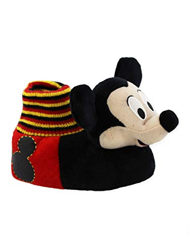 Disney Mickey Mouse Toddler Boys Plush 3D Mickey Head Sock Top Slippers (5-6 M US Toddler, Black/Red) ()