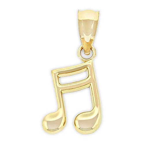 - Charm America - Gold Music Note Charm - 14 Karat Solid Gold