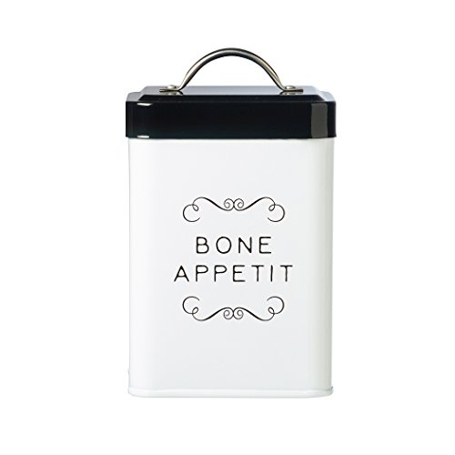 Amici Pet, A7CDI014R, Sparky Bone Appetit Metal Treat Canister, Food Safe, Push Top Lid, 36 Ounces