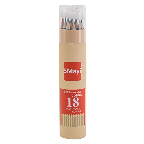 5Mayi Assorted Colors Long Drawing Pencils/Colored Pencils with Sharpener (Set of 18)