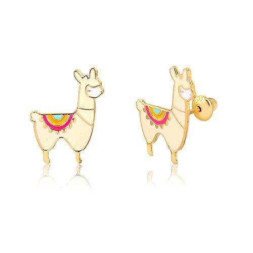 Carol Jewelry 14k Solid Yellow Gold Enamel Llama Push Backs Stud Earrings for Little Girls, Children, and Infants