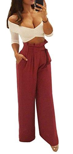 Grazioso Vintage Fashion Pantaloni Per Women Inclusa Libero Pantaloni Yasminey Baggy Eleganti Estivi Monocromo Cintura Waist Palazzo Sciolto Pantaloni Tempo Donna Donna Pantaloni Whiterot High Giovane Oqt5w17t