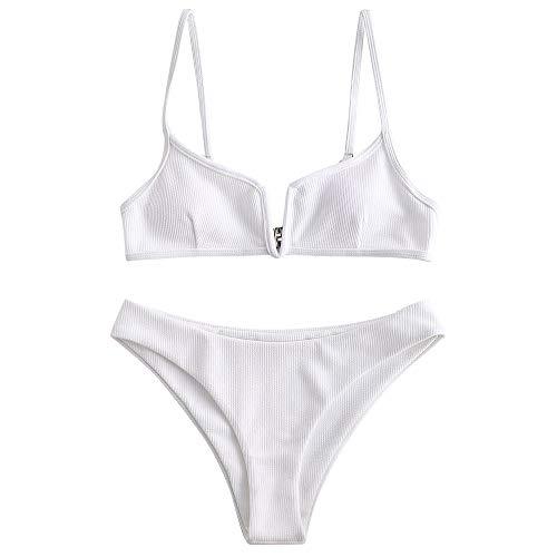 ZAFUL Women's V-Wire Padded Ribbed High Cut Cami Bikini Set Two Piece Swimsuit (White, S) (Small Padded Bikini)