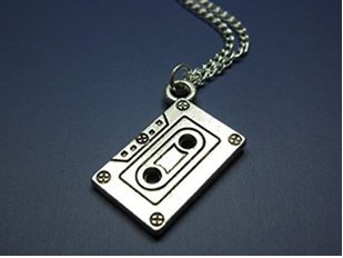 Cassette Necklace - Silver Chain Mix Tape Retro 80s 90s Geeky Nerdy Funky Necklace Quirky Cute Jewelry Punk Geek Nerd Old - With Nerd Tape Glasses