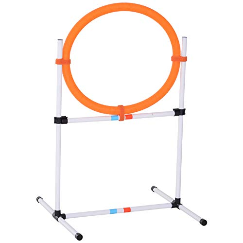 (PawHut 2-in-1 Dog Obstacle Training Agility Equipment Tire Jump Ring/Hurdle Bar)