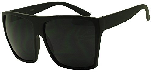 Sunglass Stop - Large Oversized Square Flat Top Super Dark Black Retro Sunglasses (Matte Black Black)