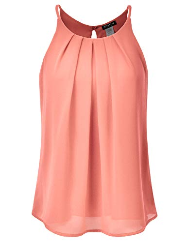 EIMIN Women's Crewneck Pleated Front Double Layered Chiffon Cami Tank Top Peach S ()