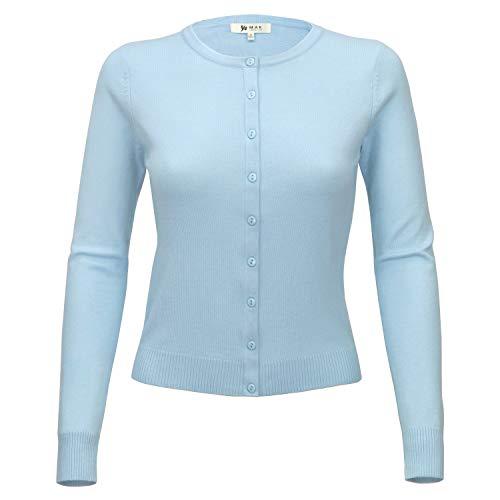 YEMAK Women Long Sleeve Crewneck Button Down Casual Soft Cardigan Sweater MK0179-LBL-M Light Blue