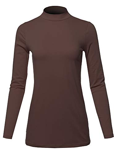 Basic Solid Soft Cotton Long Sleeve Mock Neck Top Shirts Americano Size 3XL