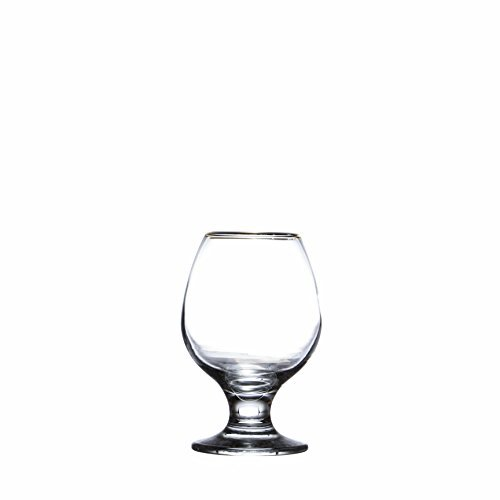 Pasabache Golden Bistro 6-Piece Brandy/Whiskey Glasses Set, 8 3/4 oz. (265 ml.), Durable Tempered Glass