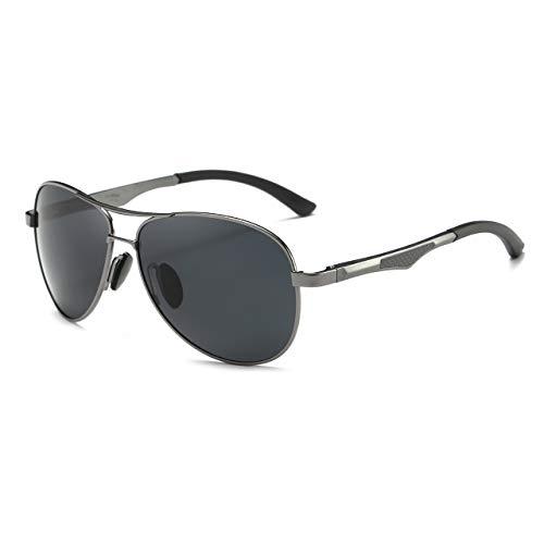 Shushu Jacob Men's Polarized Sunglasses UV400 Protection Vintage Aviator Black Lens Gunmetal ()