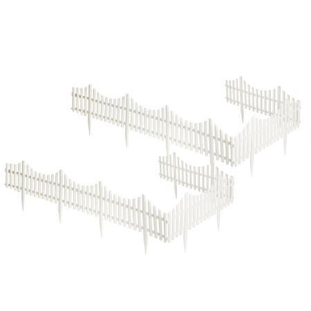 - Garden Essentials Flexible White Resin Picket Fence - 2 Sets (4 Pieces per Set)