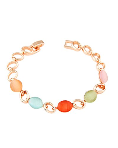 Young & Forever Women's Navratri Diwali Special Elegant Multicolo Rose Plated Opal Bracelet Gold Toned by Young & Forever