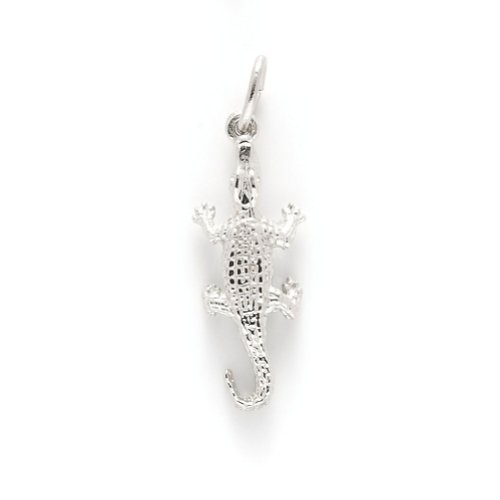 Alligator Charm In 14k White Gold, Charms for Bracelets and