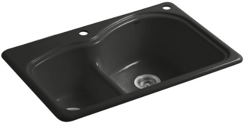 Woodfield Cast Iron Kitchen Sink - Kohler K-5839-2-FP Woodfield Smart Divide Self-Rimming Kitchen Sink with Medium/Large Basins and Two-Hole Faucet Drilling, Caviar