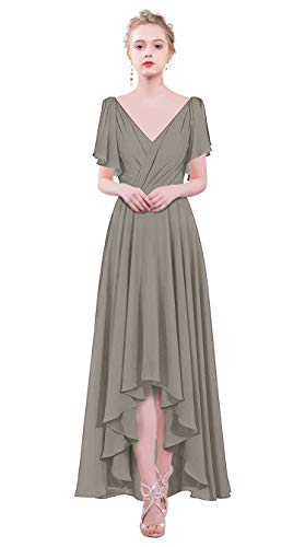 (Lily Anny Womens Long Chiffon V Neck Hi-Lo Bridesmaid Dress Formal Gown L088LF Gray US22W)