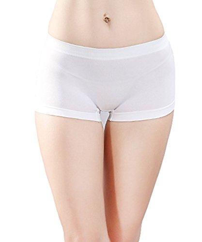 Smywo Mujeres Body Elástico Delgado Sin Costura Braguitas Damas Cintura Baja Bóxer Bragas Blanco