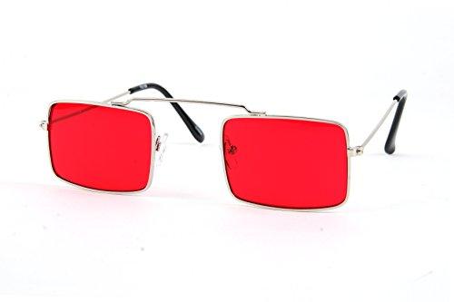Hippie Retro Square Gothic Vampire Sunglasses P2196 (Silver-Magenta - Pop Retro Sunglasses
