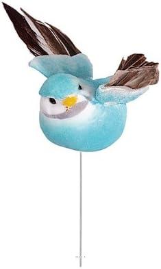 6 artificielle Mésange Bleue Blanc Faux Feather Jardin Oiseaux Craft maison arbre de Noël