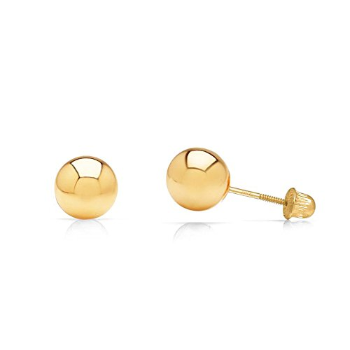 14k Yellow Gold Ball Stud Earrings with Secure and Comfortable Screw Backs (6mm) ()