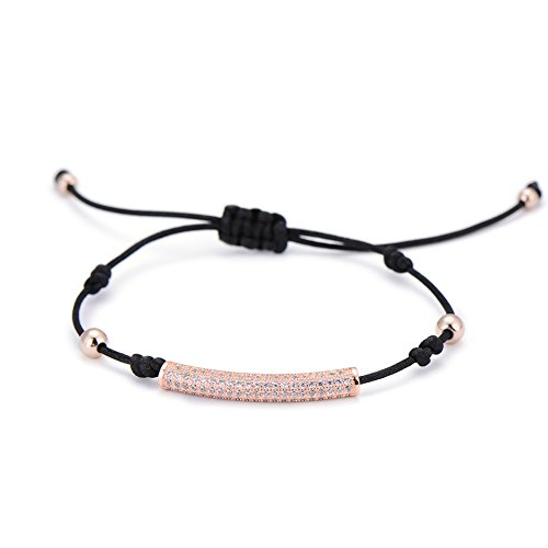 Pipitree Adjustable String Crystal Elephant Fox Tube Rope Bracelet Men Lucky Bracelet Kids Gifts (Rose - Bracelet Gold Tube
