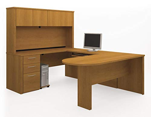 Bestar U-Shaped Desk with Pedestal and Hutch - Embassy