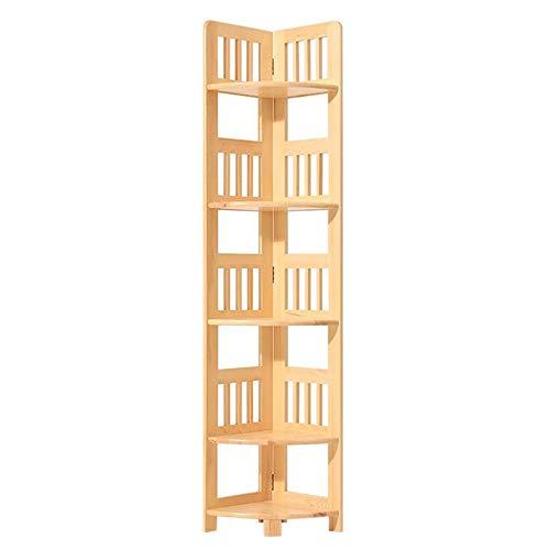 Jcnfa-Shelves Bookshelves Bookcases Home Office Deco Vintage Storage Ladder Multifunctional Corner Shelf Rack Shelving Unit (Color : Log Varnish, Size : 11.2211.2259.84in)