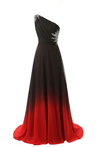 - ANGELA One Shoulder Ombre Long Evening Prom Dresses Chiffon Wedding Party Gowns BlackRed10