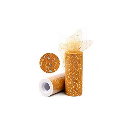 Boom-moon Glitter Sequin Tulle Roll 10 25 Yard 15cm Spool Tutu Wedding Decoration Organza Craft Birthday Party Supplies,Sequin 10yrds Gold ()