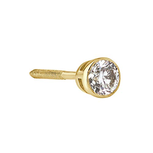14k Yellow Gold Round SINGLE Diamond Stud Earring (1/8cttw, H-I, I1-I2) Bezel set with Screw-back by Diamond Wish (Single Diamond Stud Earring)