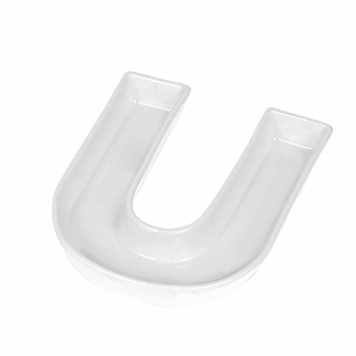White Candy Dish - Coffeezone Porcelain Letter Dish & Plates for Candy / Nuts Ideas, Wedding Party Gift (Letter U)